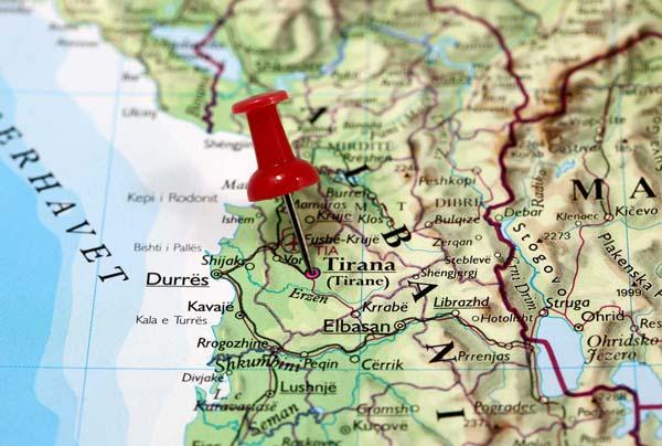Map of Tirana, Albania